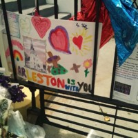 A child's poster with message of support to Emanuel AME Church, photograph by Toni Carrier, June 23, 2015, Charleston, South Carolina.