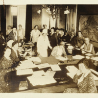 Alice Paul and Doris Stevens working with Women's Consultative Committee at League of Nations, ca. 1931, courtesy of Library of Congress Manuscript Division.