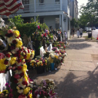 Items left in front of the Emanuel AME Church, photograph by Meg Moughan, July 7, 2015, Charleston, South Carolina.