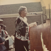 Septima P. Clark speaking at the dedication of the Septima P. Clark Day Care Center, Charleston, South Carolina, May 19, 1978, Septima P. Clark Papers, courtesy of the Avery Research Center.