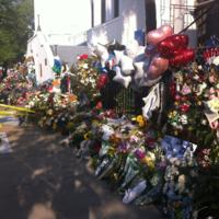 Flowers, balloons, and other items left at the Emanuel AME Church, photograph by Mary Battle, June 29, 2015, Charleston, South Carolina.