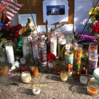 Candles placed outside the Emanuel AME Church, photograph by Meg Moughan, July 7, 2015, Charleston, South Carolina.