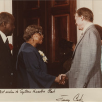Septima P. Clark and President Jimmy Carter, May 24, 1979, Septima P. Clark Papers, courtesy of the Avery Research Center.  In 1979, President Jimmy Carter presented Clark with a Living Legacy Award.