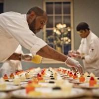 The final decorative touches on dessert, photograph by Jonathan Boncek, Charleston, South Carolina, April 19, 2015.