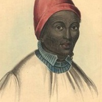 """Portion of """"Native of Hausa"""" sketch in The Natural History of Man, James C. Prichard, 1845, courtesy of Ghent University by way of Internet Archive."""