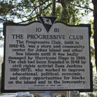 Progressive Club Historical Marker, photograph by Monica Bowman, Johns Island, South Carolina, March 15, 2016.