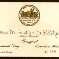 Gustave M. Pollitzer World's Fair banquet ticket for President's Day, Anita Pollitzer Family Papers, South Carolina Historical Society.