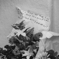 A child's note placed outside the Emanuel AME Church, photograph by Brandon Coffey, June 29, 2015, Charleston, South Carolina.