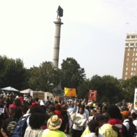 Marchers attending the Days of Grace March and Rally with the John C. Calhoun statue in the background, photograph by Mary Battle, Charleston, South Carolina, September 5, 2015.