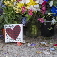 Heart with names of the nine victims who were killed in the Emanuel AME Church mass shooting, photograph by Brandon Coffey, June 29, 2015, Charleston, South Carolina.
