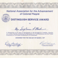 Certificate awarded to Septima Clark by the NAACP, 1977, Septima P. Clark Papers, courtesy of the Avery Research Center.