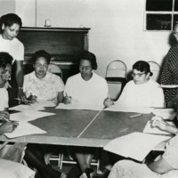 Bernice Robinson (standing left) and Septima Clark (standing right) lead a Citizenship School teacher training workshop, ca. 1961, courtesy of the Avery Research Center.