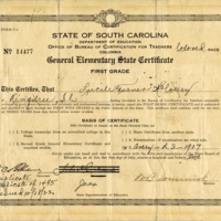 Lucille Turner McCottry's South Carolina General Elementary State Certificate for Teachers, 1907, courtesy of the Avery Research Center.