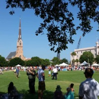 People gathered at Marion Square prayer service on the Sunday after the mass shooting, photograph by Harry Egner, Charleston, South Carolina, June 21, 2015. On this first Sunday, churches across the city stopped at 10:00 a.m. to ring their bells in honor of the victims of the Emanuel AME Church shooting.
