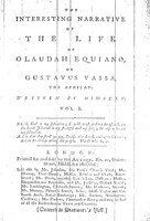 Cover page of <em>The Interesting Narrative of the Life of Olaudah Equiano</em>, Olaudah Equiano, 1789, courtesy of Documenting the American South, University of North Carolina-Chapel Hill.