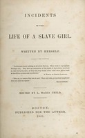 Cover page of <em>Incidents in the Life of a Slave Girl,</em> Harriet A. Jacobs, 1861, courtesy of Documenting the American South, University of North Carolina-Chapel Hill.